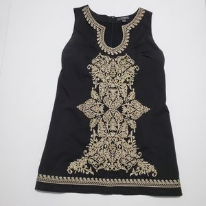 embroidered tunic top mini black and gold threads